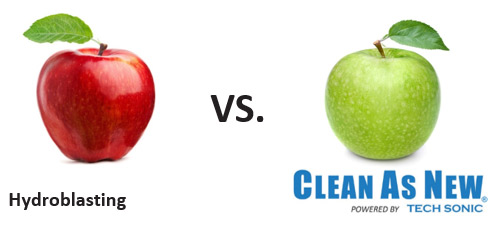 Hydroblasting VS. Clean As New Powered By Tech Sonic®.