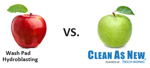 Wash Pad Hydroblasting VS. Clean As New® Powered By Tech Sonic.